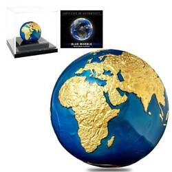 2021 3oz Silver Gold Plating Blue Marble Planet Earth Spherical Coin Barbados