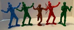 Lot Of 5 Vintage Mpc Marx Cowboy And Indians 5 Toys Plastic