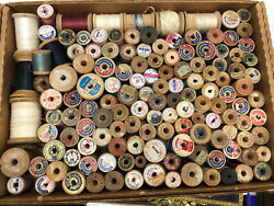 Antique Sewing Thread Wooden Spools Coats And Clark Sears Over 100 Spools