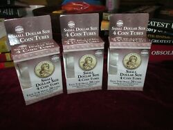 Lot Of 3 Small Golden Dollar Sacagawea Coin Tubes 4 Pack Clear Sba 12 Tubesnew