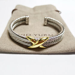 David Yurman X Crossover Double Cable Rope Cuff 10mm 75014k Gold Bracelet