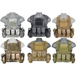 Lancer Tactical Modular Rrv-style Molle Airsoft Chest Rig With Pouches Ca-307