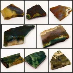 100 Natural Free From Lovey Texture Moss Agate Slice Rough Minerals Rm8861-9001