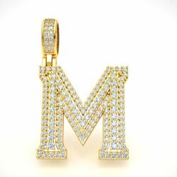 14k Gold Diamond 1.5 3d Varsity Initial Letter And039mand039 Pendant Necklace 2.15ct