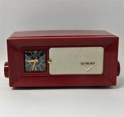 Cranberry Red Dumont Telechron Clock Am Tube Radio Vintage Mid Century And Working