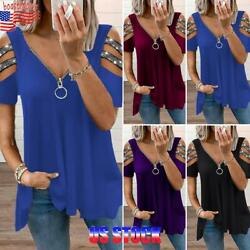Womens Summer Cold Shoulder Zipper V Neck Tops Ladies Tee T Shirt Loose Blouse $15.63