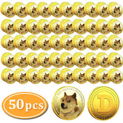 50x Gold Dogecoin Commemorative Coin Gold Plated Doge Coin 2021 Limited Edition