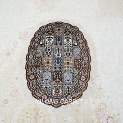 Yilong 2and039x3and039 Handknotted Silk Carpet Four Seasons Oval Kid Friendly Rug L008b