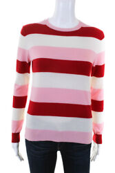 Chinti And Parker Womens Pink Red Cream Stripe Crewneck Cashmere Sweater Size S