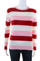 Chinti And Parker Womens Pink Red Cream Stripe Crewneck Cashmere Sweater Size M