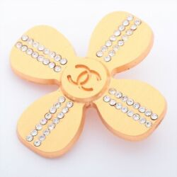Coco Mark 01c Brooch Gold Plated Gold Clover Rhinestone