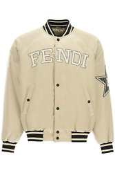New Fendi Satin Bomber Jacket With Logo Faa814 A53p Champagne Authentic Nwt