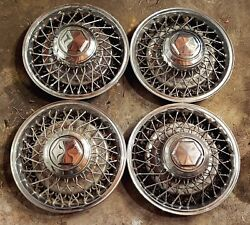 Set Of 4 Oem 1979-89 Dodge Chrysler Plymouth 15 Wire Spoke Hubcaps Wheel Covers