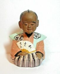 Antique Japanese Terra Cotta Clay Figure Man With Fan Nodder Bobble Head