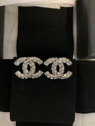 Cc Logo Classic Crystals Large Clip On Earrings