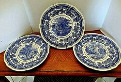 Set Of Three Spode Blue Room Collection 10 1/2 With Hangers 2006 England- Mint