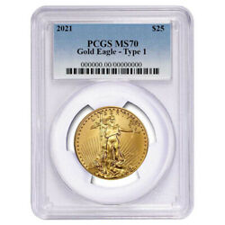 2021 25 Type 1 American Gold Eagle 1/2 Oz. Pcgs Ms70 Blue Label