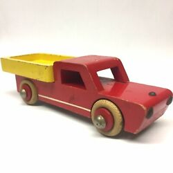 Vintage 50's Hanse Wooden Toy Truck - Red And Yellow