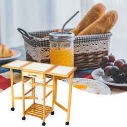 Home Use Convenient Portable Rolling Drop Leaf Kitchen Storage Trolley Cart