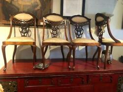 Antique English Mahogany Queen Anne Legs Set Of 4 Chairs