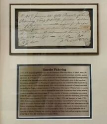 Timothy Pickering 3rd Us Secretary Of State Federalist 1783 Signed Letter