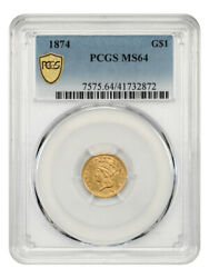 1874 G1 Pcgs Ms64 - 1 Gold Coin
