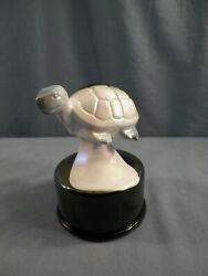 Fenton Mosser Amethyst And White Carnival Slag Glass Turtle On The Font Figurine