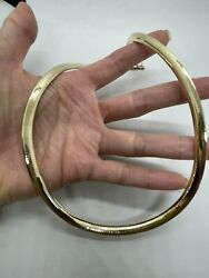 M Italy 14k Yellow Gold Omega Flat Chain Necklace 6mm Wide Heavy 42g Fine Estate