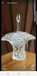 Large Vintage Cut Glass Basket W/handle Diamond And Button Pattern Height 12