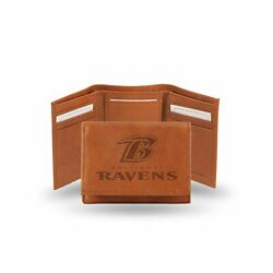 Rico Industries Men's Embossed Leather Trifold Wallet Baltimore Ravens