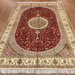 Yilong 6'x9' Handknotted Silk Carpet Antistatic Red Eco Friendly Rug Wy367c