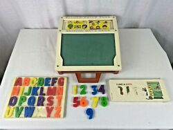 Vintage 1972 Fisher Price School Days Play Desk Letters, Numbers, Stencils