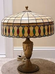 Antique 1920and039s Signed Bradley And Hubbard Art Nouveau Stained Glass Table Lamp Usa