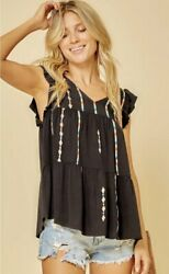 SAVANNA JANE Black V Neck Flutter Sleeve Top with Embroidery Accents $44.50