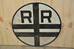 Vintage 1800s Railroad Crossing Sign-double X Black And White Porcelain Sign