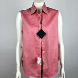 Brooks Brothers NEW 12 Fitted Red Women#x27;s Button Front Sleeveless Shirt $29.69