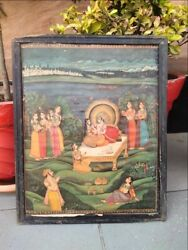 Vintage Indian Royal King And Queen Making Love Miniature Print Frame 17 X 14