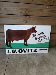 Vintage J. W. Ovitz Brown Swiss Cattle Double Sided Metal Farm Cow Dairy Sign