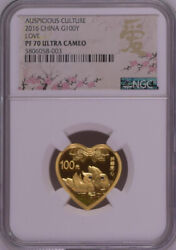 Ngc Pf70 2016 China Auspicious Culture Love 8g Gold Coin Love Label