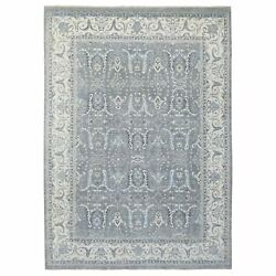 8'9x11'8 Hand Knotted Fine Peshawar Gray Vibrant Wool Rug G67750