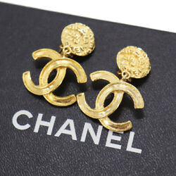 Cc Logos Circle Earrings Gold Clip-on 95a France Vintage Auth Xx560 Y