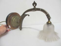 Large Victorian Brass Gas Wall Light Sconce Lamp Antique Old Glass Shade Vintage