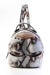Lupo Leather Warriors Eyes Python Skin Backpack Gray Pink White