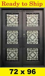 Double Front Entry Iron Door Tempered Operable Glass 72x96