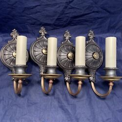 Wow Set Of Four Antique Brass And Pewter Quality Wall Sconces Nice 106b