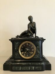 Large Antique 19 Century Charpentier And Cie Bronze And Marble Figural Clock