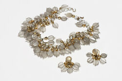 Louis Rousselet Paris 1950's Clear Frosted Glass Beads Necklace Earrings Set
