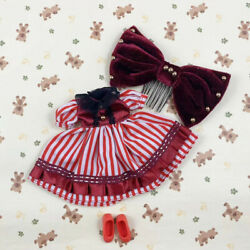 Red Vertical Striped Dress Velvet Hairpin Red Shoe12 Blythe Doll Factory Outfit