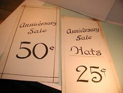 2 Vintage Anniversary Sale Signs Hand Painted 25 And 50 Cents