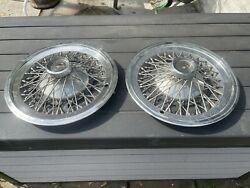 """1964-1966 Ford Thunderbird Vintage Chrome Oem 14"""" Wire Wheel Covers Set Of 2"""